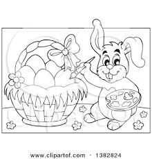 easter bunny baskets clipart of a black and white lineart happy easter bunny rabbit