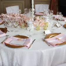 Blush Pink Table Runner Sequin Tablecloth Hire