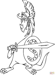dragon as a gladiator coloring page free printable coloring pages