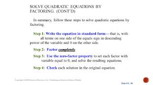solve quadratic equations by factoring cont d