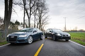 audi a6 or lexus gs 350 comparison test 2012 audi a6 3 0 quattro vs 2013 lexus gs350 f
