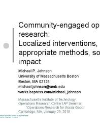 community engaged operations research localized interventions