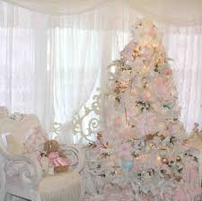 rose white christmas tree with pink decorations gold and the