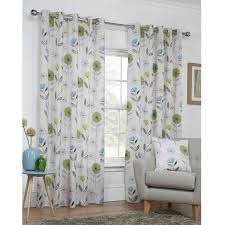 Floral Lined Curtains Sundour Monterey Lime Green Lined Eyelet Curtains Dove Mill