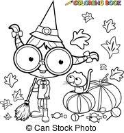 halloween cat coloring page cat witch sitting on a pumpkin