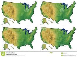 Physical Map Of The United States by Four Versions Of Regional Map Of United States Stock Photo Image