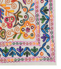 Table Cloth Cum Wall Hanging Pink Kashmiri Design - Table cloth design