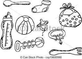 eps vectors of hand draw sketch baby stuff simple hand draw