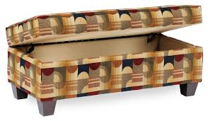 rectangular storage ottoman with tapered legs by smith brothers