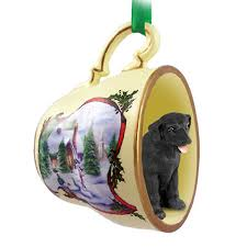 black lab teacup ornament figurine