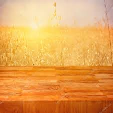Light Wooden Table Texture Empty Wooden Table Over Wheat Field With Sunset Or Sunrise U2014 Stock