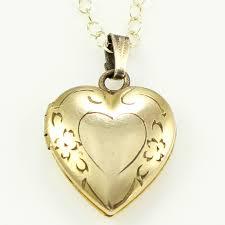engraved heart necklace vintage engraved gold filled heart locket pendant necklace