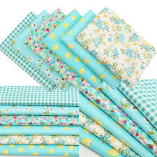 designer 6pcs cyan country style design cotton fabric diy