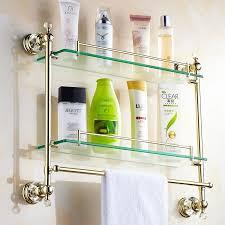 gold crystal bathroom shower glass shelf bath shower shelf corner