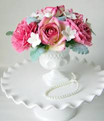 Peony Floral Arrangement Floral Arrangement Or Paper Roses And Peony In Vintage Milk Glass