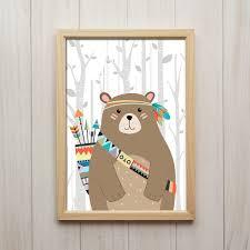 Woodland Animal Nursery Decor by Tribal Bear Nursery Print Woodland Animal Wall Art Indian