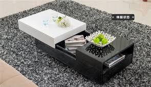 high grade glass coffee table in black and white living room