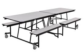 Choir Stands Benches Cafeteria 10ft Rectangular Mobile Fixed Bench Tables