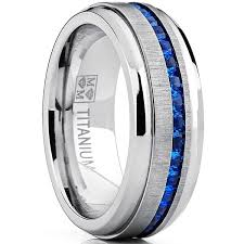 blue titanium wedding band oliveti men s titanium ring eternity wedding band with blue