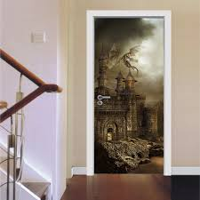aliexpress com buy self adhesive gothic castle ladder wall door aliexpress com buy self adhesive gothic castle ladder wall door stickers pvc removable refrigerator door murals home decoration 200x77cm wall decal from