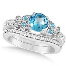 diamond bridal sets butterfly blue topaz diamond bridal set 14k white gold 1 10ct