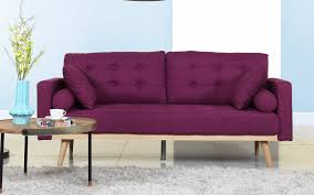 Purple Sofa Bed Henry Mid Century Modern Linen Sofa Sofamania