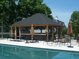 poolhouse pool house shingled roof precise buildings