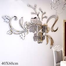 60cm mirror wall stickers reviews online shopping 60cm mirror hot sale wall stickers gold silver acrylic 3d mirror flower home decor vinyl stickers for children kids bedroom 40 60cm