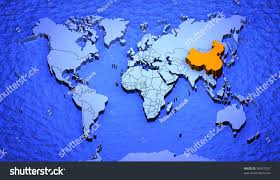 World Map China by 3d Graphic Depicting World Map Highlighting Stock Illustration