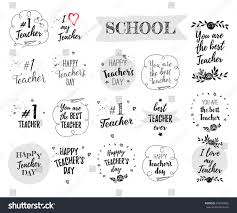 Invitation Card Design For Teachers Day Happy Teachers Day Labels Greeting Cards Stock Vector 492550822
