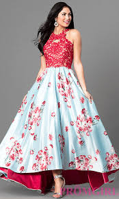 floral dresses floral print high low prom dress with lace promgirl