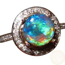 blue gem rings images Black opal diamond ring k gold bright green blue gem round black jpg