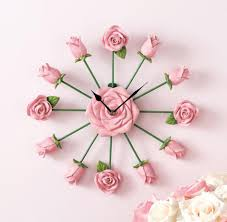decoration pretty pink rose wall clock black metal hand rose