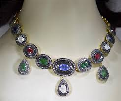 diamond necklace with sapphire images Antique diamond necklace 5 45 ct emerald ruby sapphire silver jpg&a