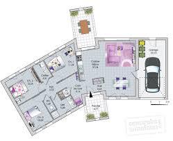plan de maison en v plain pied 4 chambres plan maison contemporaine en v