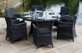 Wicker Look Patio Furniture Table Round Outdoor Dining Set Tables Sets With Seats 6 8