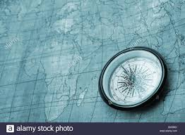 Old Map Background Compass On Old Map Blue Tone Background Stock Photo Royalty Free