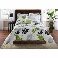 Green And Black Comforter Sets Queen Mainstays Botanical Leaf Bed In A Bag Coordinated Bedding Set