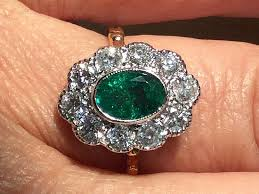 emerald rings uk vintage emerald and diamond cluster ring alison needful things
