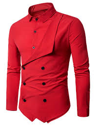 long sleeve layered double breasted shirt red xl in shirts