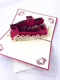 chinese great wall handmade paper craft 3d pop up greeting cards