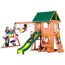 Kids Backyard Playground Playset Add A Touch Of Fun To Your Backyard With Home Depot