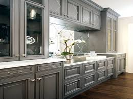 Mirrored Kitchen Cabinets Kitchen Photo Of Grey Kitchen Cabinet With White Island Featuring