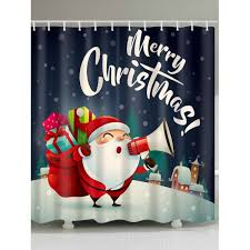 Santa Curtains Wholesale Christmas Santa With Gifts Print Waterproof Shower