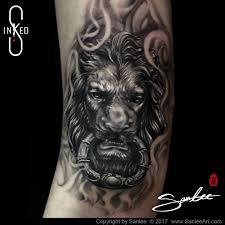 lion door knocker lion door knocker b g tattoo by sanlee inked s medium