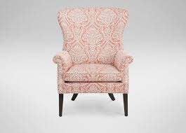 pattern coral roll arm wing chair