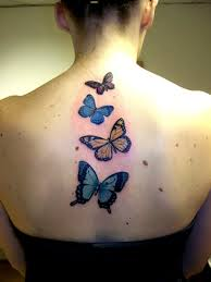 butterfly tattoos on the of neck 3d for and