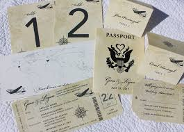 ticket wedding invitations antique world map vintage airline ticket wedding invitations