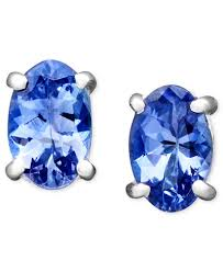 tanzanite stud earrings 14k white gold earrings oval tanzanite stud 7 8 ct t w