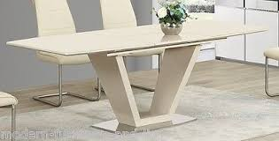 Extending Cream High Gloss Dining Table With Chairs Option - Cream kitchen table
